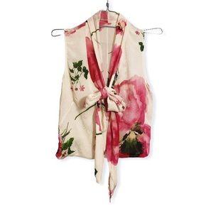 Charles Chang-Lima silk floral top sleeveless Pink